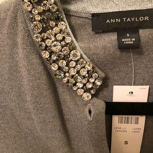 Ann Taylor embellished neck cardigan sweater